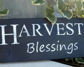 Harvest Blessings -- fall, Thanksgiving, distressed wood sign