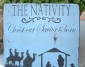 The Nativity -- Christmas, religious, nativity, holiday, wood sign