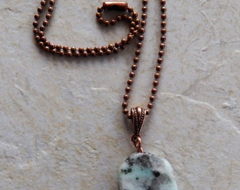 Copper and Kiwi Jasper Pendant Necklace