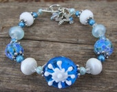 Snowflake Winter Blues Artisan Lampwork Bracelet - SALE!!
