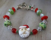 Santa Artisan Lampwork Bracelet Christmas Red and Green OOAK - CLEARANCE SALE!