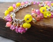 Beaded Charm Bracelet Pink and Yellow Pink Lemonaid Citrus Summer - CLEARANCE!