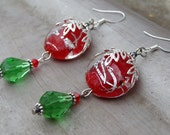 SALE - Red and Green Dangle Earrings  Holly Daze