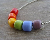 Hold for Melissa- Unisex Rainbow Artisan Lampwork Ball and Chain Necklace- CLOSEOUT PRICING!