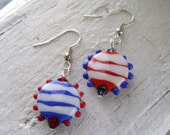 Red White And Blue Striped Mismatched Lampwork Earrings - SALE!