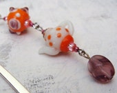Polka Dot Orange Teapot Bookmark