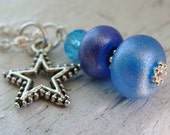 Blue Trio Artisan Lampwork Star Necklace - vee41dmb