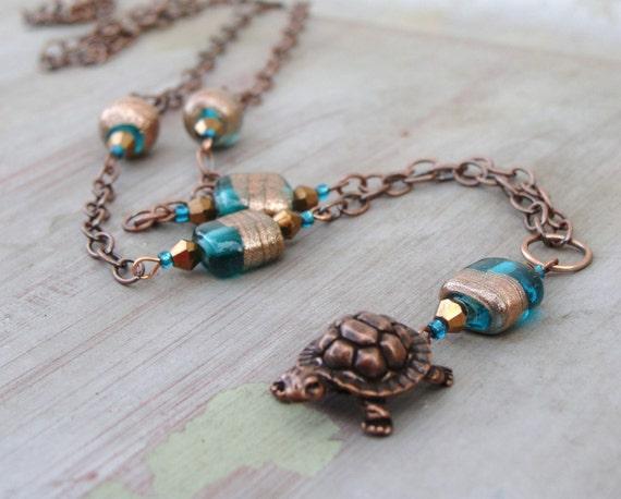 Turtle Necklace Long Teal Copper Bronze  Fredrick
