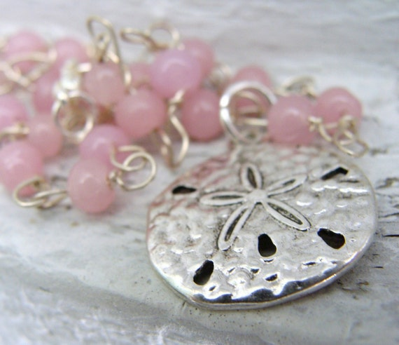 Sand Dollar Necklace Pink and Silver - CLOSEOUT PRICE! Half Off!