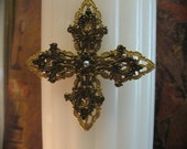 Religious Crucifix Candle Embellishment or Brooch Pin No. 6
