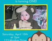 MOD MONKEY Photo Birthday Invitations 1st Birthday Any age or Baby Shower - 4x6 or 5x7 Print Your Own