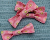 Clip On Bow Ties - Pink with Lime Green Pattern