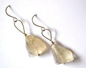 huge stone rutilated citrine yellow white quartz sterling silver earrings, bold and chunky