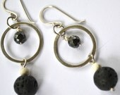 Sterling silver, lava rock, coral, hematite, freshwater pearl earrings