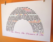 The Lovers The Dreamers and Me Rainbow Connection Lyrics A4 Size Art Poster Print