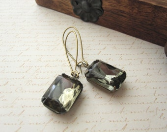 Black Diamond Vintage Glass Earrings