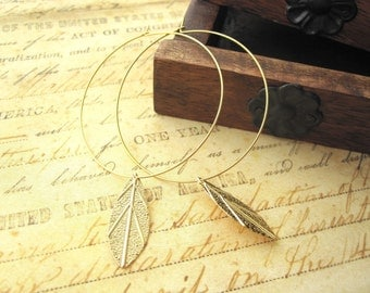 Gold Hoop Earrings, Gold Hoops, Gold Hoops with Leaf, Feather Earrings