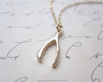 Gold Vermeil Wishbone Necklace 14k Gold Filled Chain