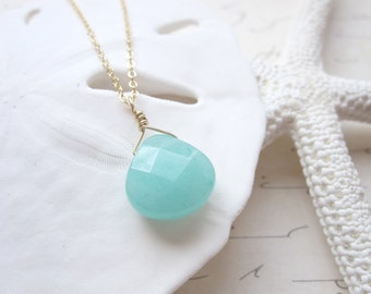 Aqua Seafoam Green Teardrop Faceted Briolette  Necklace 14k Gold Filled Chain Also Available in Sterling Silver