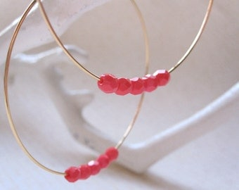 Large Gold Plated Hoops, 5 Dark Tangerine Orange Czech Glass Beads, Hoop Earrings, Gold Hoops with Red Beads