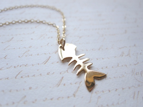 Gold Vermeil Fishbone Necklace, 14k Gold Filled Chain, Also Available in Sterling Silver, Fish Scale