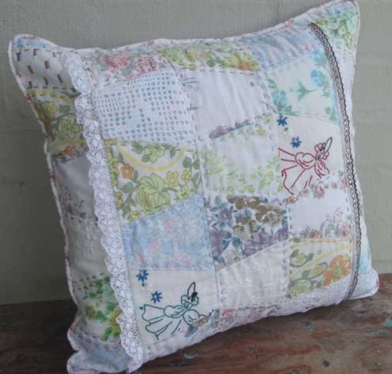 Cushion pillow cover. Vintage fabrics quilted with doilies