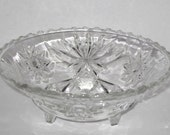 EAPG Early American Prescut Glass 3 Footed Candy Bowl