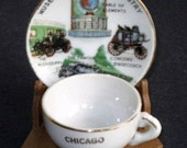 Chicago Science Industry Museum Miniature Cup and Saucer With Stand