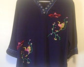 Blue Embroidered Birds of Paradise Shirt - L