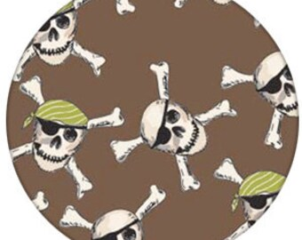 Pirate Mateys Pirate Skulls fabric by Emily Taylor and Riley Blake - 1/2 yard or 1 yard