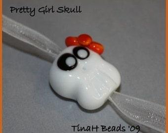Girly Skull Handmade Glass Lampwork Focal Bead by TH