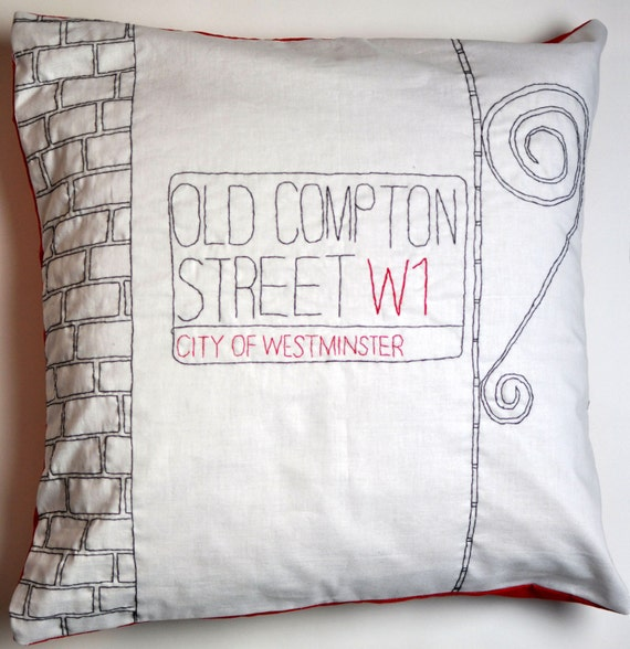 Embroidered London Street Sign Cushion - Old Compton Street Soho
