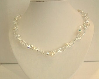 Swarovski entwined crystal and pearl necklace - bridal
