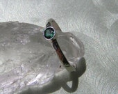 Forest Green Tourmaline Stacking Ring with Recycled Sterling Silver