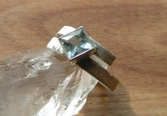 Princess Cut Brazilian Aquamarine Ring in Sterling Silver