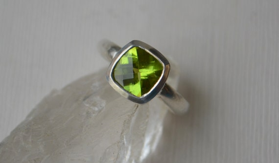Larger Peridot Cushion Cut Chekker Top Ring in Sterling Silver