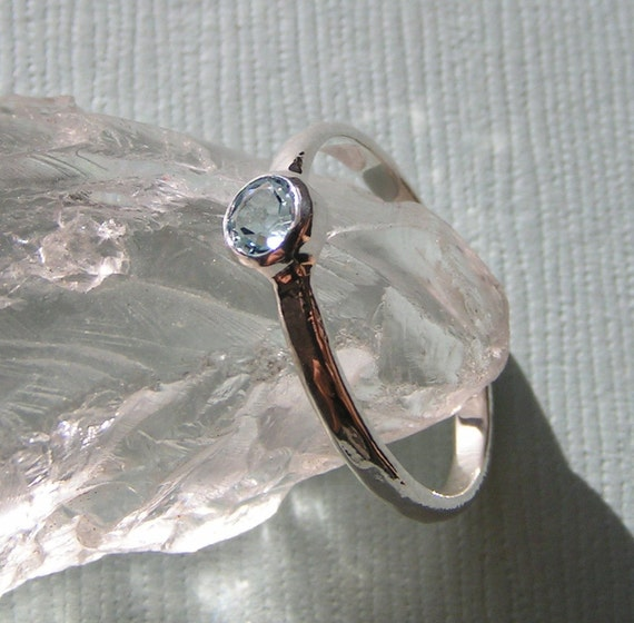 Hammered Aquamarine Stacking Ring in Recycled Sterling