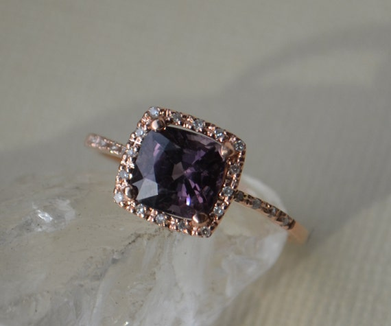 Rose Gold Ring With Cushion Cut Purple Ceylon Spinel and Diamonds