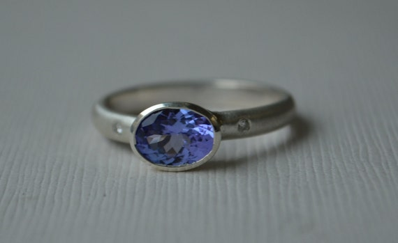 Tanzanite Oval and Diamond Ring with Sterling Silver
