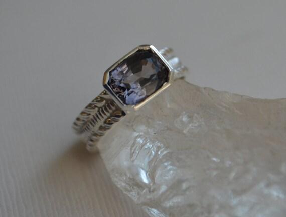 Purplish Blue Tanzanian Spinel Cushion Cut Ring on Patterned Sterling Band