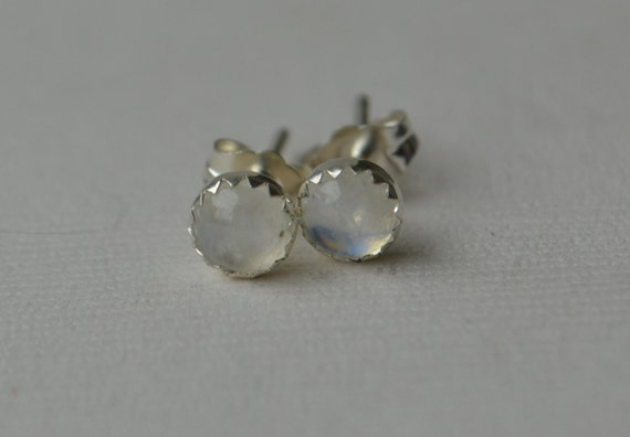 5mm Moonstone Cabochon Studs in Sterling