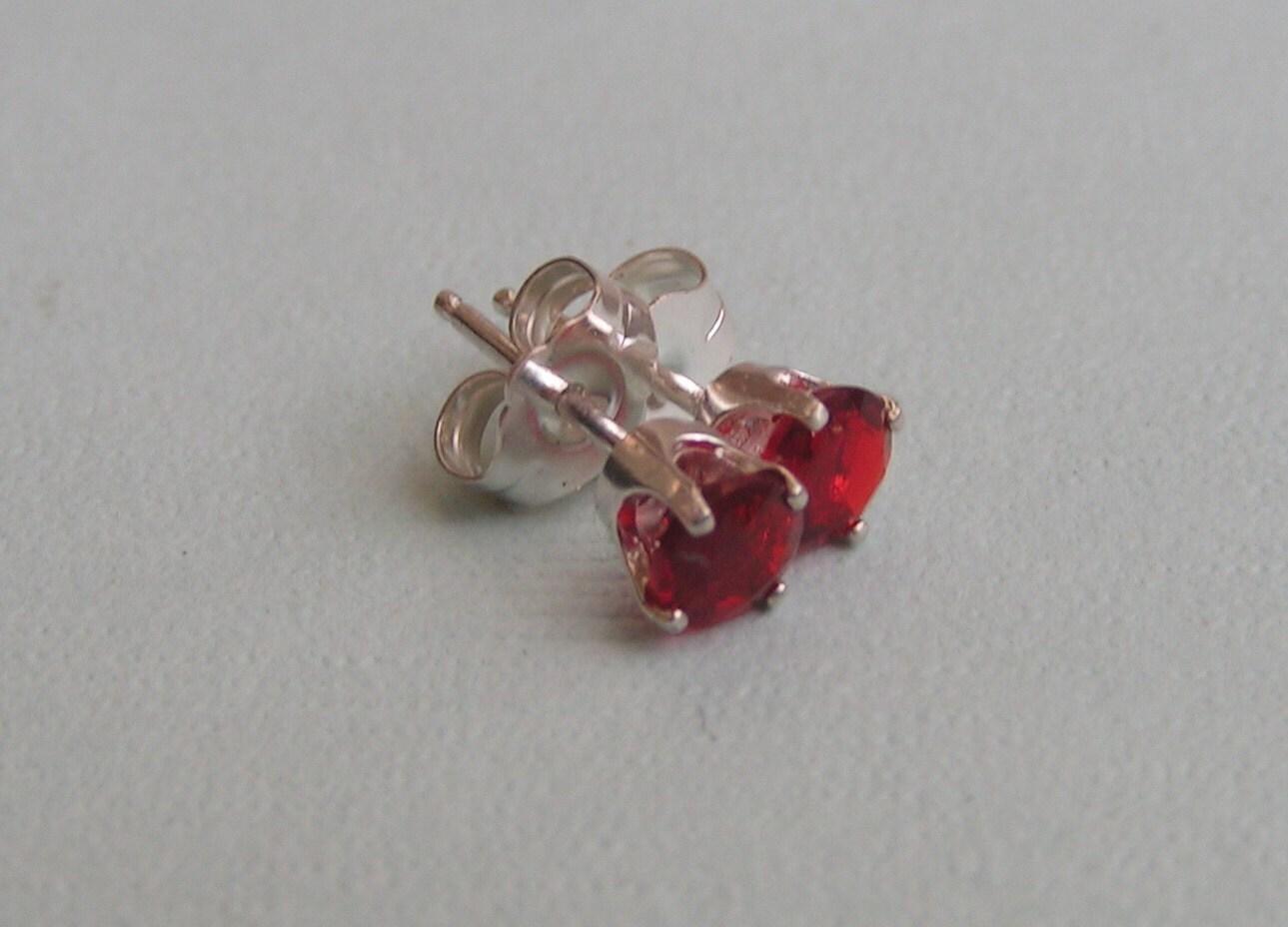 Red Mexican Fire Opal Stud Earrings