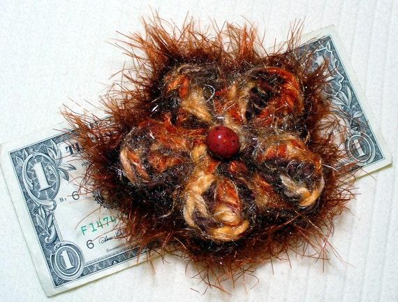 Orange/Brown Crocheted Flower Pin/Brooch