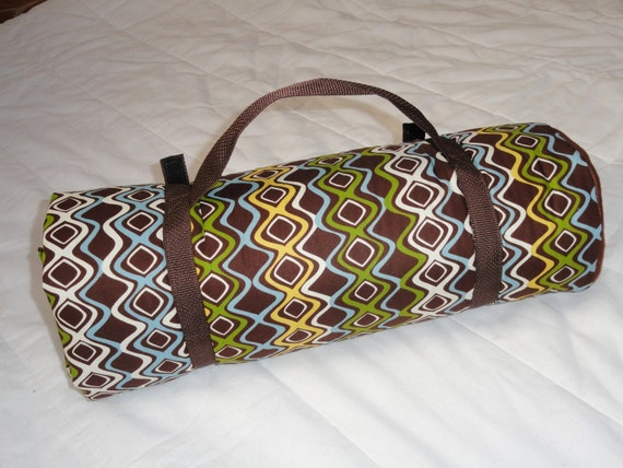 Napmat....Brown with Blue and Green Wavy Pattern...On Sale...Free Shipping