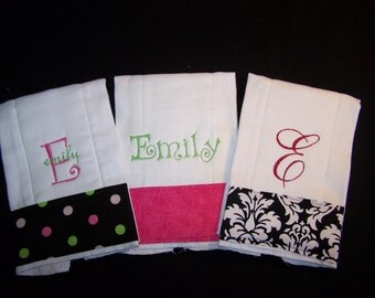 Personalized Burp Cloths Set of 3 burpies