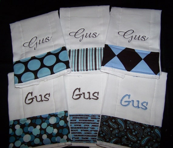 Personalized Monogrammed Baby Burp Cloth Set of 6 Cloths
