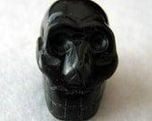 Large Focal Bead Black Obsidian Skull Side Drilled