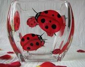 Painted Candle Holder - Red Glass Bowl - Fun Ladybug Art - Accessory Container - Insect Decor