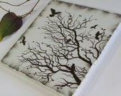 Botanical Wall Art, Tree Branch Nature Home Decor, Flying Birds Decorative Ceramic Tile, Winter Silhouette