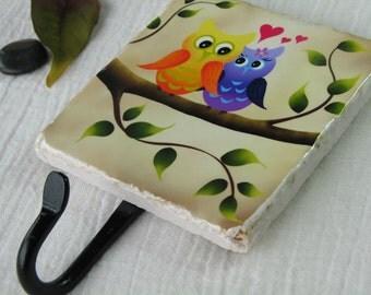 Love Owls Wall Hook Organizer, Bird Art Key Rack, Ceramic Tile  Wall Key Holder, Key Hook,  Childrens Decor